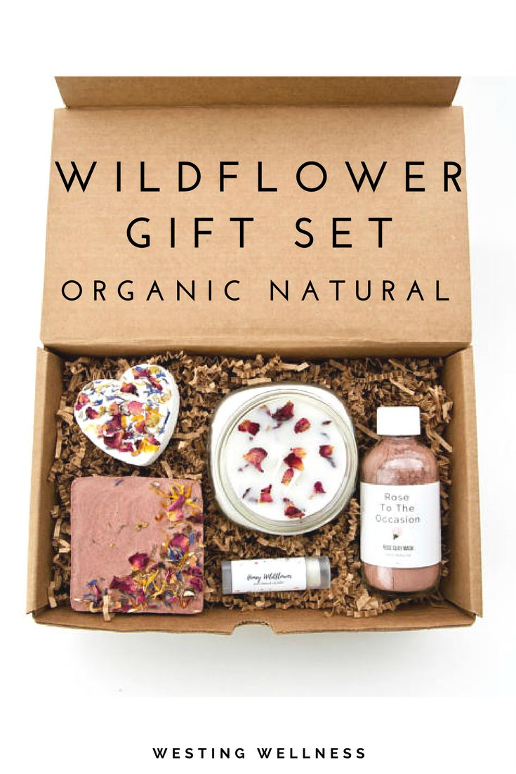Wildflower Gift Set/ Etsy Westing Wellness/ Organic Gift Set/ Natural Beauty/ Handmade/ Face mask/ Bath Bomb/ Beeswax Candle