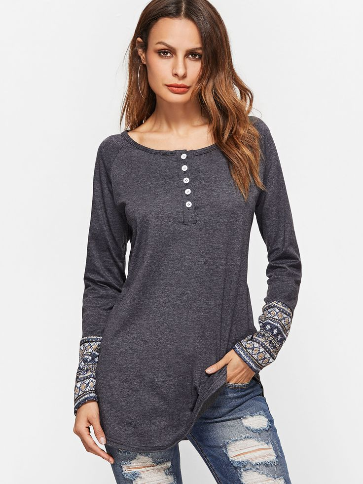 Shop Dark Grey Contrast Tribal Print Cuff Button Front T-shirt online. SheIn offers Dark Grey Contrast Tribal Print Cuff Button Front T-shirt & more to fit your fashionable needs.