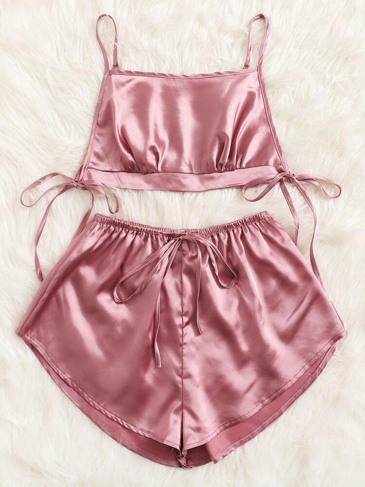 Satin Sleepwear, Sleepwear Sets, Sleepwear Women, Pajamas Women, Women's Pajamas, Silk Pajamas, Lingerie Outfits, Pretty Lingerie, Women Lingerie
