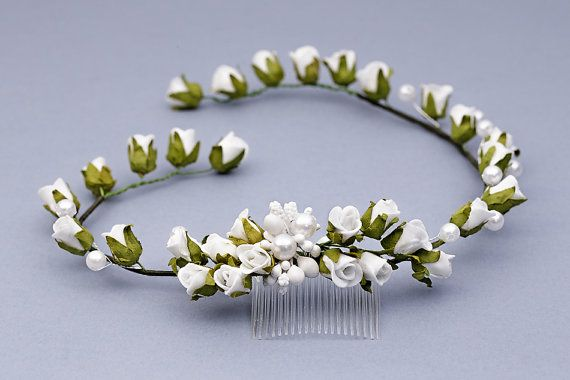 Flower Hair Comb White Rose Hair Comb Flower by FloralHeadpiece