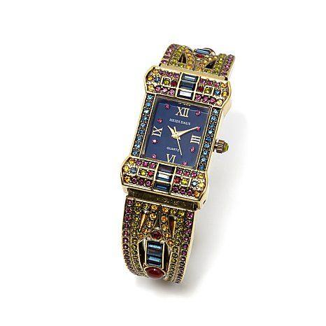 "Heidi Daus ""Sparkling Opulence"" Pavé Crystal Cuff Watch"