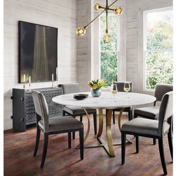 Gage White Marble Antique Brass Leg Round Dining Table 60 99 695