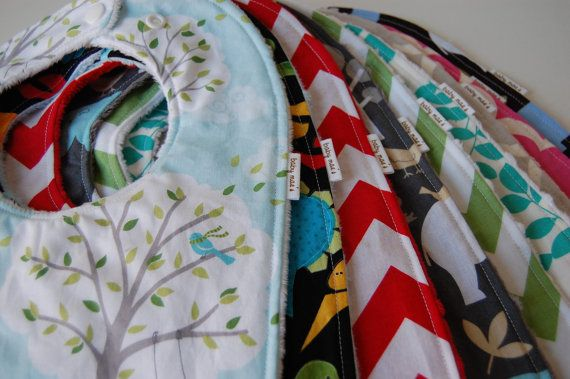 Baby Maes, Boutique Baby Bibs: Design Your Own Set of 5 Bibs, Choose from over 80 Designer Fabrics via Etsy, Baby Mae Boutique on Etsy, Baby Mae's