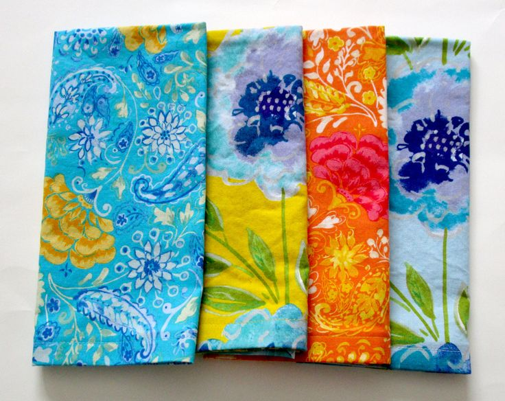 Cloth Napkins - Set of 4 - Dinner, Table, Everyday, Wedding - Mismatched, Assorted, Variety - Yellow Blue Purple Orange Pink Flowers Floral by ClearSkyHome on Etsy