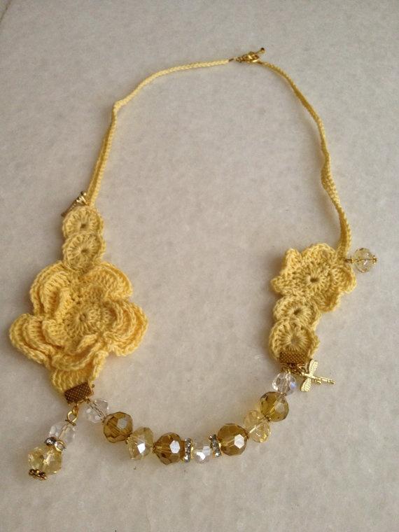 Handmade Crochet : Handmade Crochet Necklaces by hebaalayyan on Etsy, $21.00