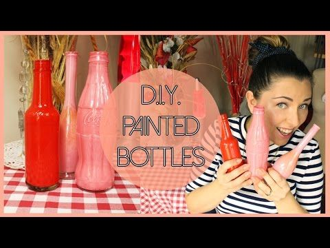 D.I.Y. painted glass bottles - Bottiglie dipinte fai da te - YouTube