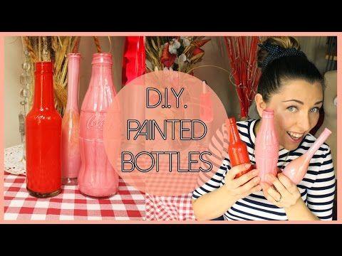 D.I.Y. painted glass bottles - Bottiglie dipinte fai da te - YouTube