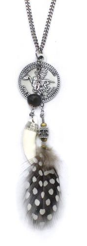 Corello Necklace - Corello Logo Coin with Skulled Feather | Metal Chain