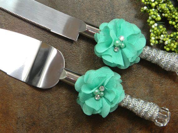 http://www.2uidea.com/category/Knife-Set/ Aqua Wedding Cake Knife Set Aqua and Silver by PrettyCountryBridal