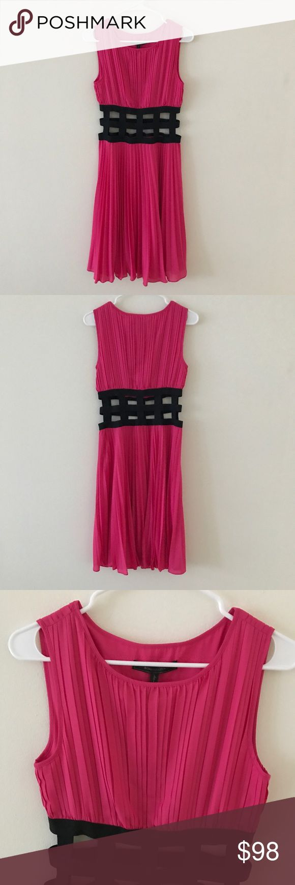 BCBGMaxAzria • Hot Pink Dress with Cutout Pattern BCBGMaxAzria • BRAND NEW WITH TAGS. Originally $328. No flaws. Hot pink, pleated material. Black cutout design in the center. Lining underneath. Perfect for a night out.   ❄️ No trades. Make an offer! Discounts given on bundles. ❄️ BCBGMaxAzria Dresses