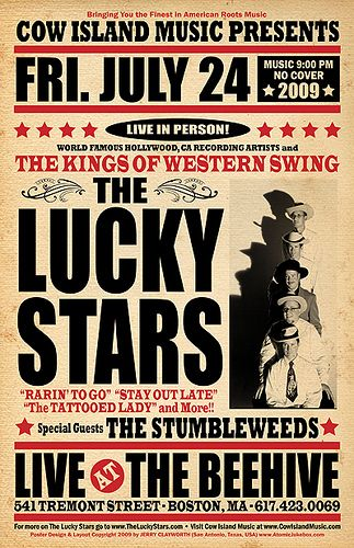 The Lucky Stars @ The Beehive (Boston, MA) 7/24/2009 Show Poster by AtomicJukebox.com, via Flickr