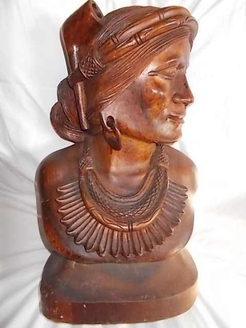 Large Wooden Carved Bust Head Tobacco Store Display 19 Inches