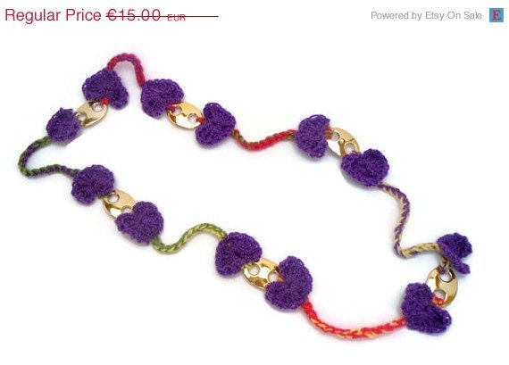 For today only Crochet Necklace  Purple Beads   Heart by CRAZYBOOM