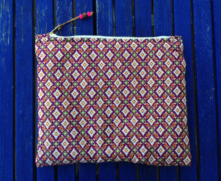 Zipper pouch, cosmetic bag, makeup bag, Clutch Bag, fabric from Malaysia, Handmade by slowlifeproject on Etsy
