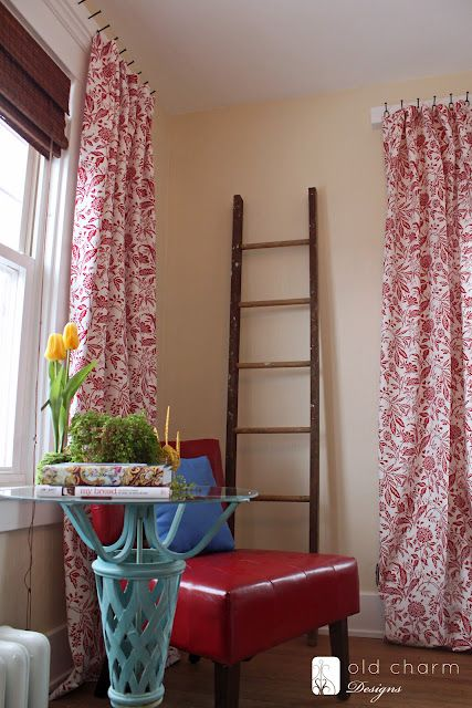 great tutorial on how to make these price efficient curtains - LOVE the nail head hanging method!