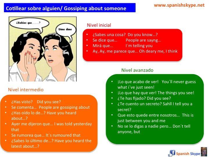 ¿Eres cotilla? Por si acaso, aquí tienes cómo hacerlo en español ¡Que lo disfrutes!  Cotillear= Contar chismes sobre vidas ajenas, sobre otras personas