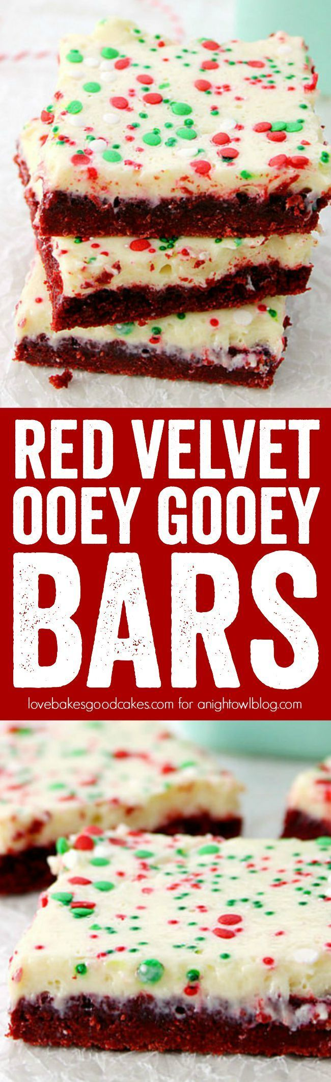 These Red Velvet Ooey Gooey Bars are easy but impressive. They're the perfect holiday treat!