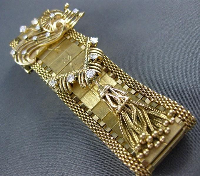 ANTIQUE WIDE DIAMOND 14KT YELLOW GOLD BAUME & MERCIER TASSEL BRACELET WATCH 1655
