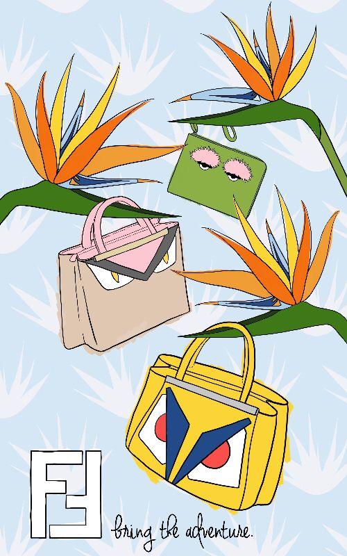 Fendi Handbag Promotional Poster. Artwork by illustrator and designer, Emilie Hancharick. Student at SCAD. Instagram: @ehillustration Email: emiliehancharick@yahoo.com #art #graphicdesign #illustration