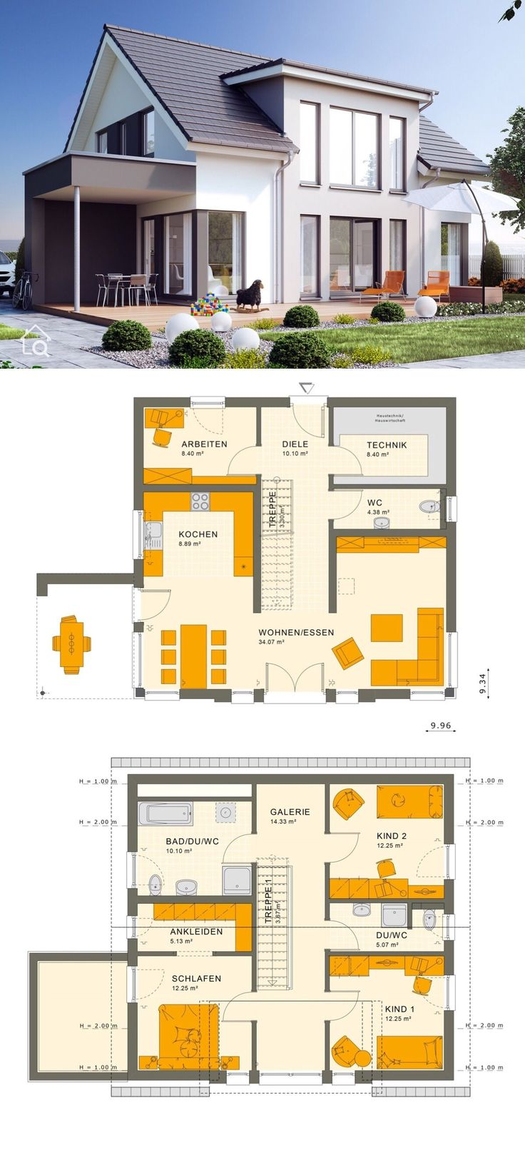 Detached house modern with saddle roof architecture & gable, floor plan t …  – HausbauDirekt