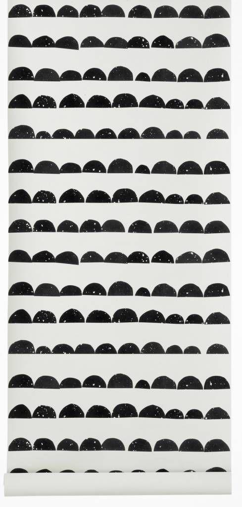 Ferm Living Tapete Half Moon, schwarz/weiß, 10,05 x0, 53m
