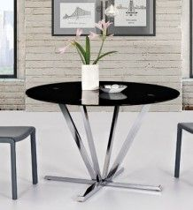 Round Black Glass Dining Table With Chrome Base