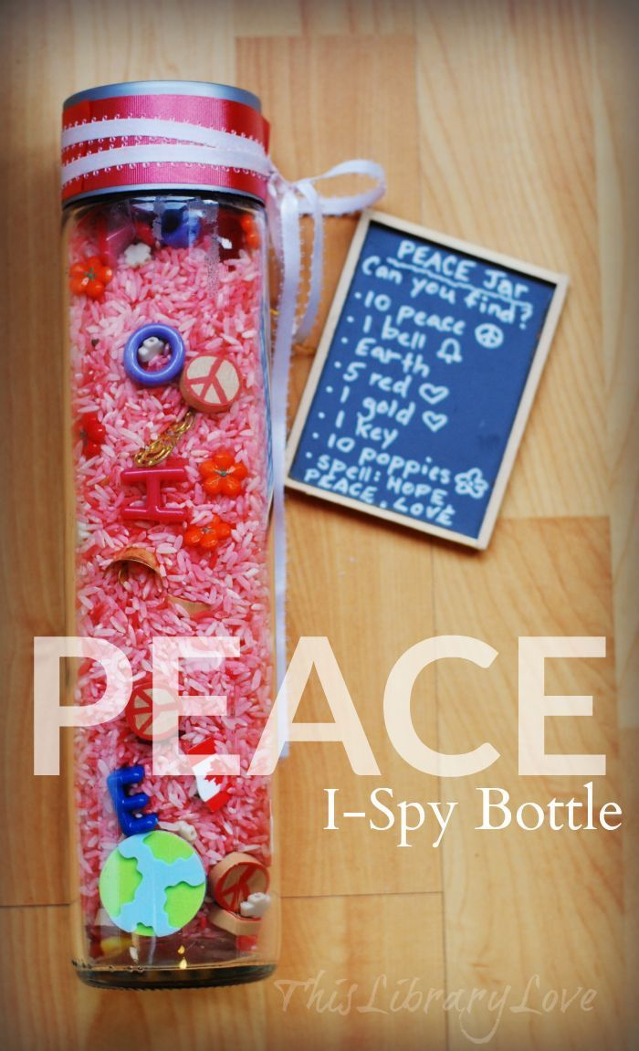 Find the easy instructions to make this inspiring and entertaining search and find Peace I-SPY Bottle for your library or classroom. Perfect for when kids need to wait or have a few minutes to chill out! {ThisLibraryLove}