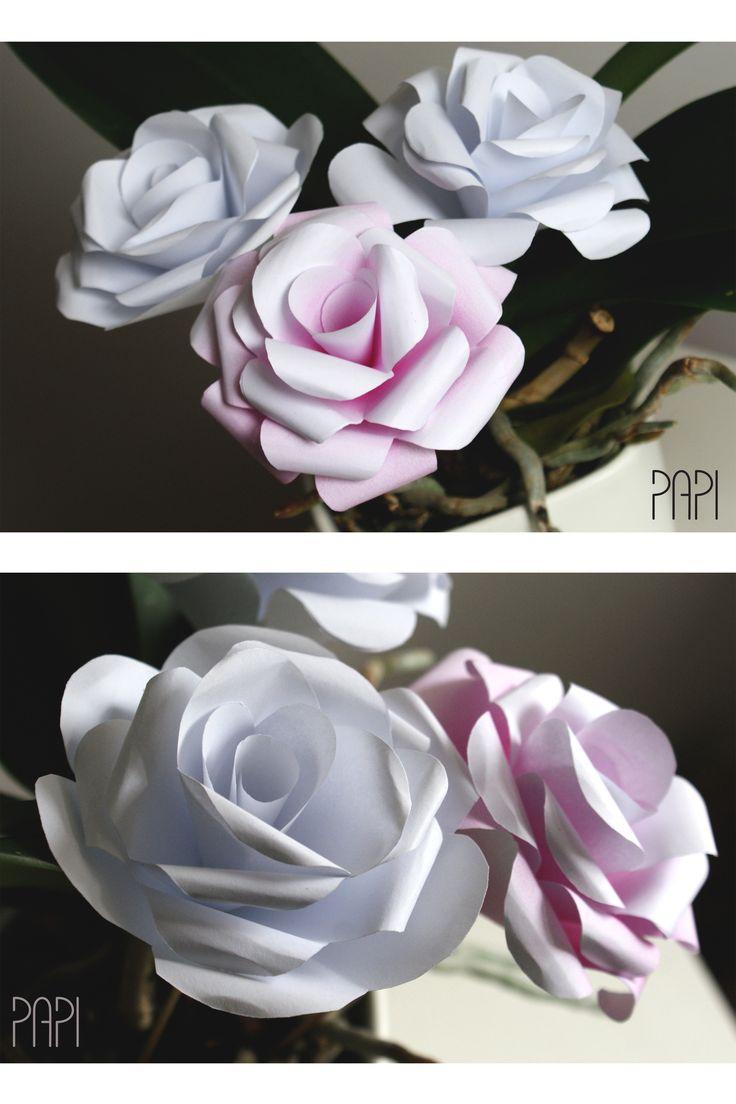 Papierowe kwiaty na patykach, całkowicie ręczna robota. Ukochana biel PAPI z dodatkiem różu.  || Paper flowers, handmade in a favourite PAPI's colour - white, with a piece of rose ;)