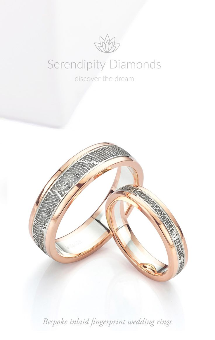 Bespoke fingerprint wedding rings. Two colour inlaid wedding rings featuring a fingerprint engraved central band with satin finish, edged with mirror polished Rose Gold. Available as part of a bespoke wedding ring design service at Serendipity Diamonds.