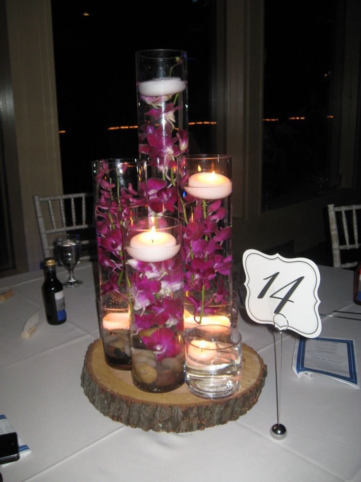 Table centerpieces, wood slabs cut by my father