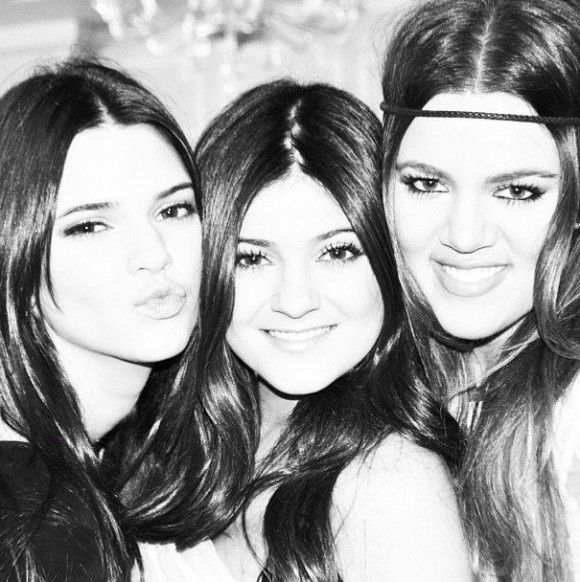 Khloe Kardashian Poses With Younger Sisters Kendall and Kylie Jenner In Black and White Pic