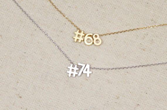 Hashtag Jersey Number Necklace Sports Team by LittleMissLilyan