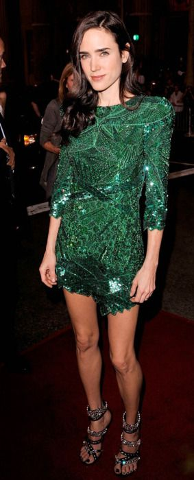 Jennifer Connelly wearing green emerald Balmain dress with Givenchy heels