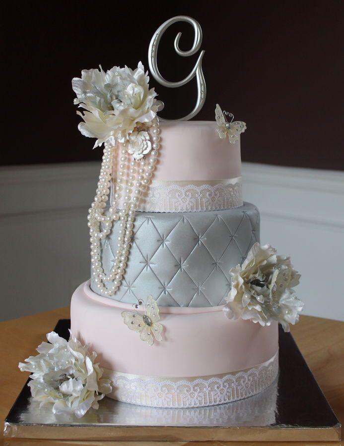Vintage Blue Satin and Pale Pink Wedding Cake