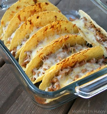 Oven+Tacos.+Because+I+love+crispy+tacos.    Oven+Tacos    2+lbs+ground+beef+(or+turkey/chicken)  1+small+onion+diced  1+small+can+diced+green+chilies  1+(8+ounce)+can+low+sodium+tomato+sauce  1+(16+ounce)+can+fat+freerefried+beans  2+cups+shredded+reduced+fat+Colby-jack+cheese  18-20+hard+taco+shells{if+gluten+free,+be+sure