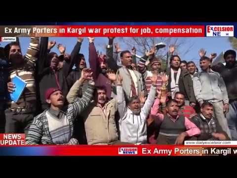 Ex Army Porters in Kargil war protest for job compensation