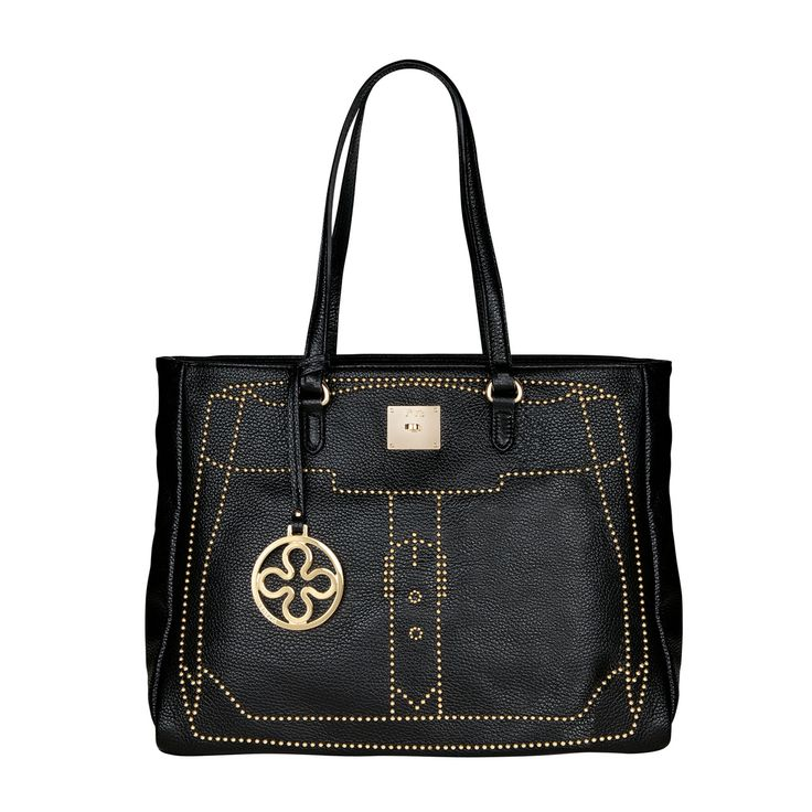 #V73 Madrid Black Leather Bag whit zip closure, Studs, Charms shown in photo included, Metal feet at the base 49 x 28 x 18 Shop now: http://www.v73.it/en/pelli-pregiate/madrid/1087-madrid-black