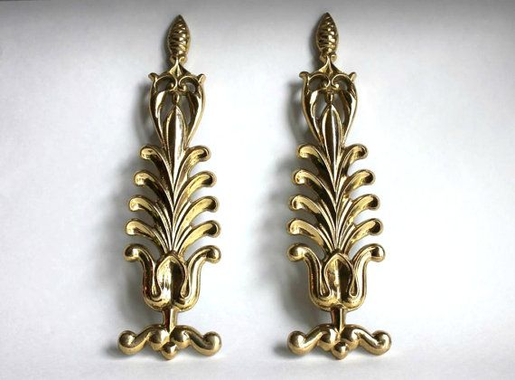 Solid Gold Brass Leaves Wall Decor, Set Of 2, Vintage