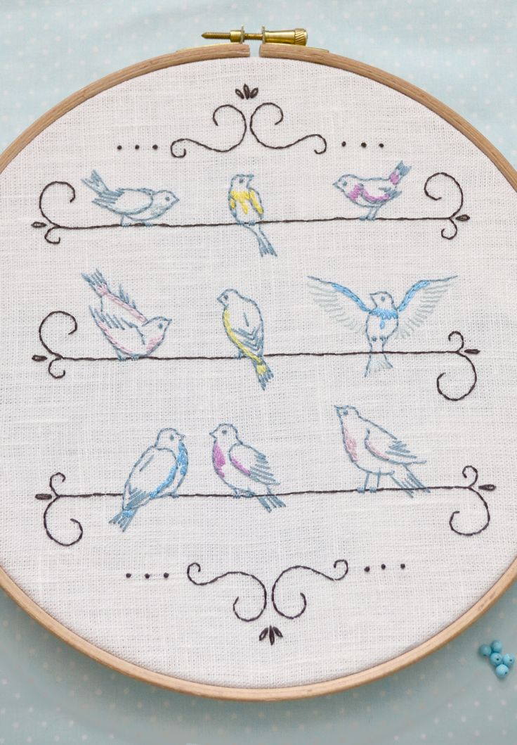 Birds on a wire. Simple hand embroidery design in shabby chic stile. It can be used for pillow or curtains, if you place the birds in one line. #naiveneedle