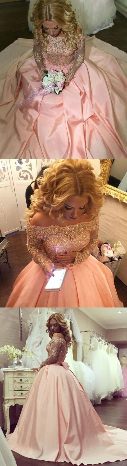 Gold Lace Long Sleeves Off Shoulder Ball Gowns Satin Blush Wedding Dresses 2020 Bow Back Wedding Gowns For Bride M8809