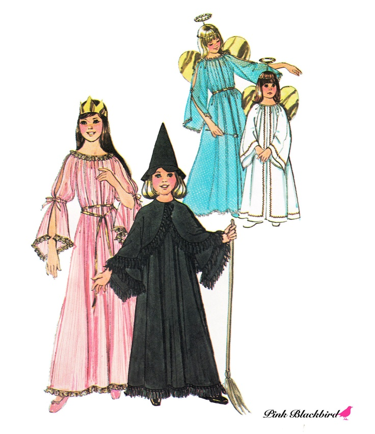 Girl's Witch Costume Pattern/ Girl's Angel Costume Pattern/ Vintage 1970s Simplicity UNCUT Costume Sewing Pattern 7684. $6.00, via Etsy.