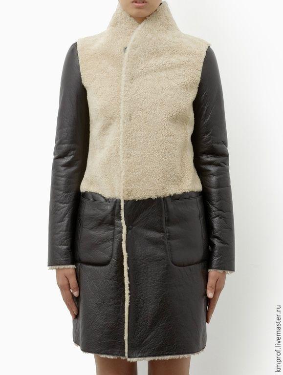 """Купить Комбинированная дублёнка """"Аntithesis"""" - черный, однотонный, стильная дубленка, зимняя одежда, дизайнерская одежда"""