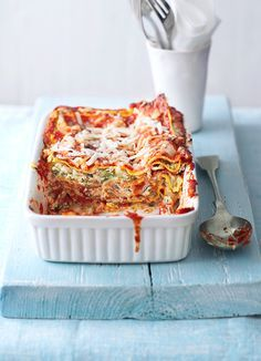 quick courgette lasagne - This must be the best easy vegetarian lasagne! Mix the courgettes, garlic and chilli with ricotta, add a shop-bought tomato sauce and fresh lasagne and dinner can be on the table in under 30 minutes