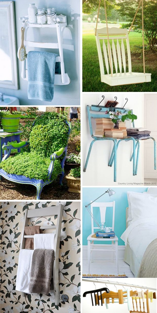 repurposed chairs (the chair swing is my favorite!)