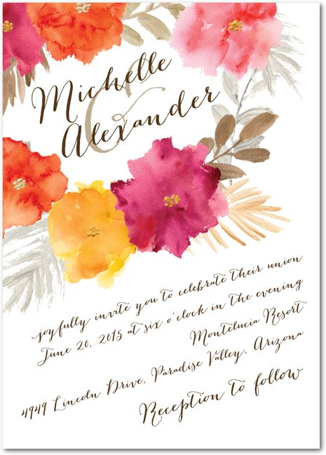 Brushed Blossoms - Signature Custom Wedding Invitations in Persimmon or Sea Blue | Coloring Cricket