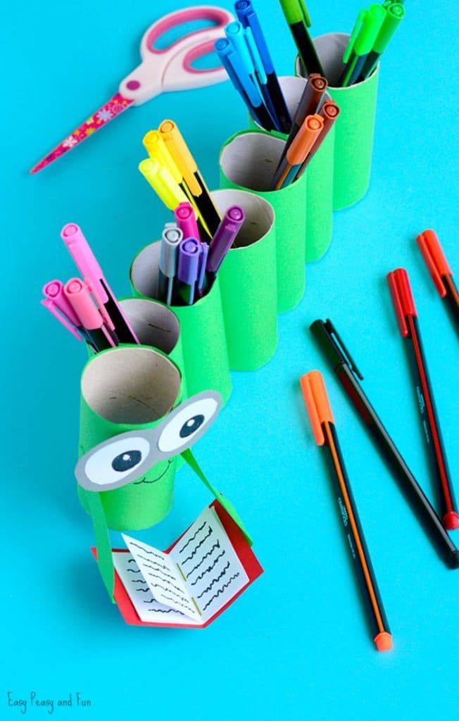Diy Bookworm Paper Roll Pencil Holder Easy Peasy And Fun Paper