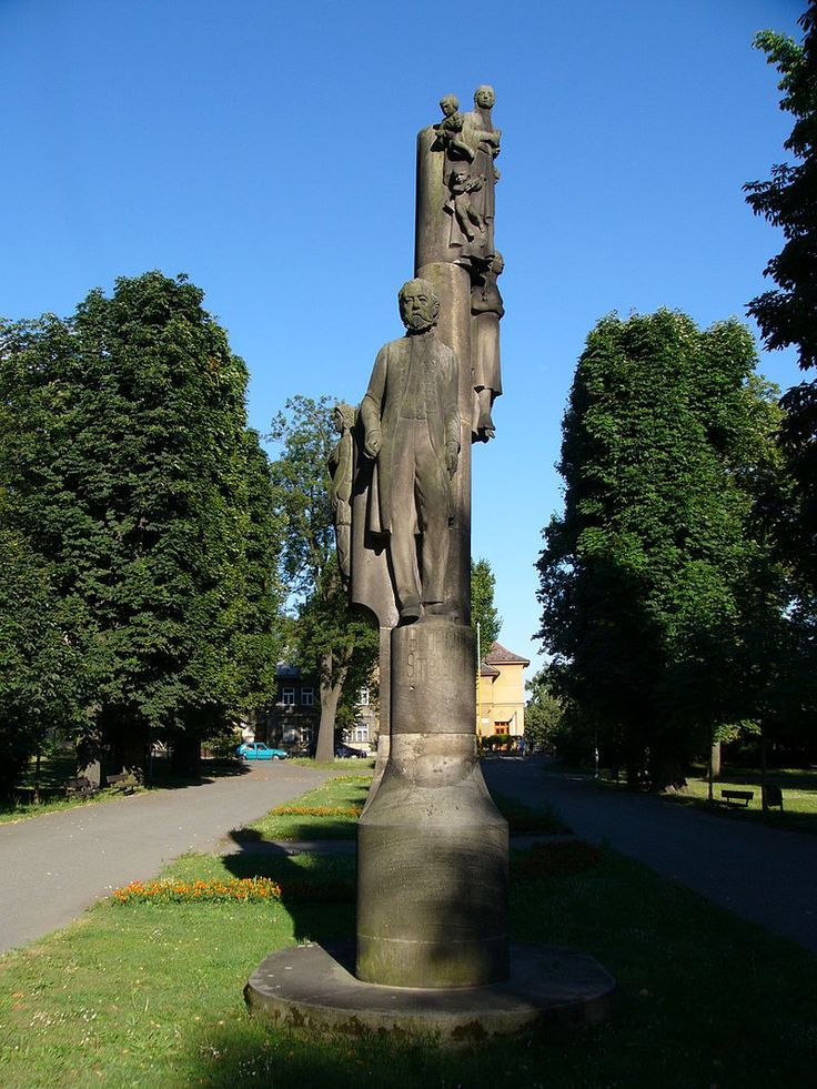Memorial in the Smetana Park in Olomouc ,Bedřich Smetana, 1925 by sculptor Rudolph Pregnant and architect Josef Štěpánek.