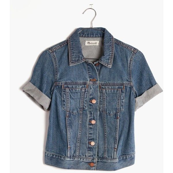 MADEWELL The Summer Jean Jacket ($110) ❤ liked on Polyvore featuring outerwear, jackets, rocco wash, summer denim jacket, blue denim jacket, denim jacket, short sleeve denim jacket and madewell