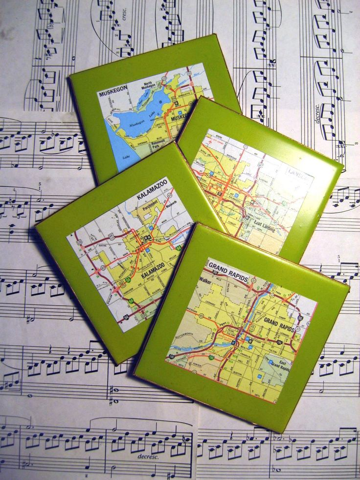 city coasters made with maps of places