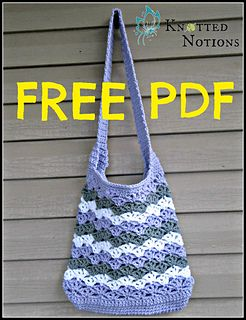 This bag is worked from the bottom up and only uses two rows of a repeat to create the stitch pattern. It's simple, quick, and comes out very pretty. This would work with cotton, too!